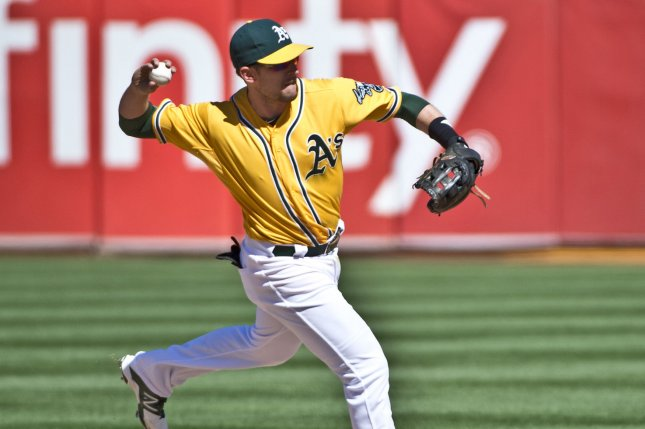 Oakland A's Jed Lowrie throws out a runner at first base. File photo by Terry Schmitt/UPI