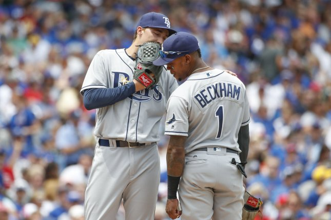 Tampa Bay Rays' Blake Snell (L) talks with Tim Beckham (R) in the first inning of a game against the Chicago Cubs at Wrigley Field on July 5, 2017 in Chicago. File photo by Kamil Krzaczynski/UPI