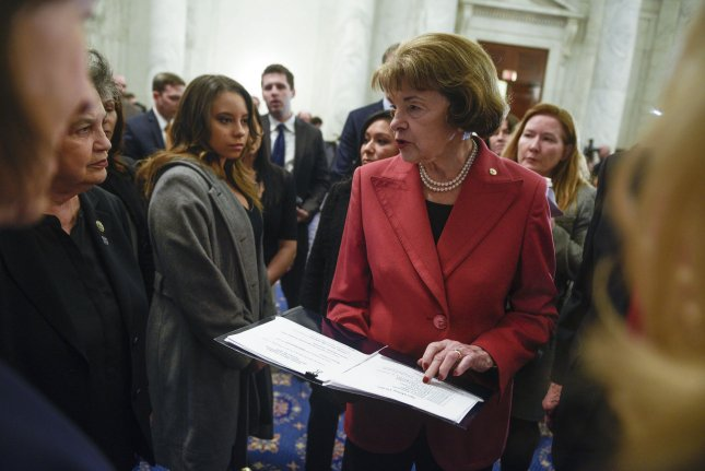 Sen. Dianne Feinstein, D-Calif., is joined by fellow Democrat Kamala Harris in calling on the automotive sector to press back on fuel standards. File Photo by Leigh Vogel/UPI