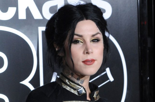 Kat Von D is expecting a son with husband and Prayers musician Leafar Seyer. File Photo by Jim Ruymen/UPI