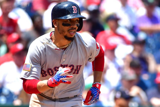 Boston Red Sox right fielder Mookie Betts (50) now has 23 home runs on the season. Photo by Kevin Dietsch/UPI