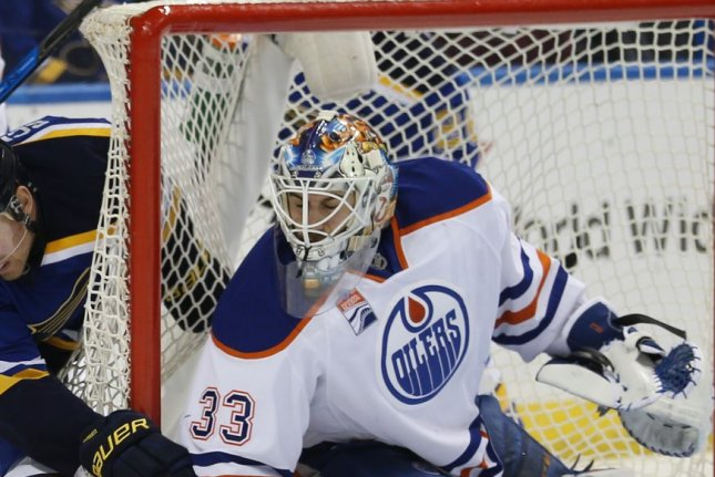 Cam Talbot and the Edmonton Oilers face off with the Los Angeles Kings on Thursday. Photo by BIll Greenblatt/UPI