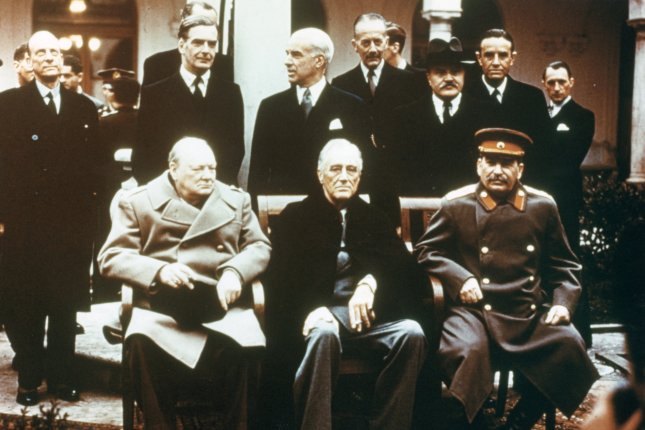 World Leaders are pictured at the Yalta Conference on February 9, 1945. Soviet leader Josef Stalin, U.S. President Franklin D. Roosevelt and British Prime Minister Winston Churchill are seated in the front row. Decisions made at the conference influenced the rebuilding of Europe after World War II. UPI Photo/File