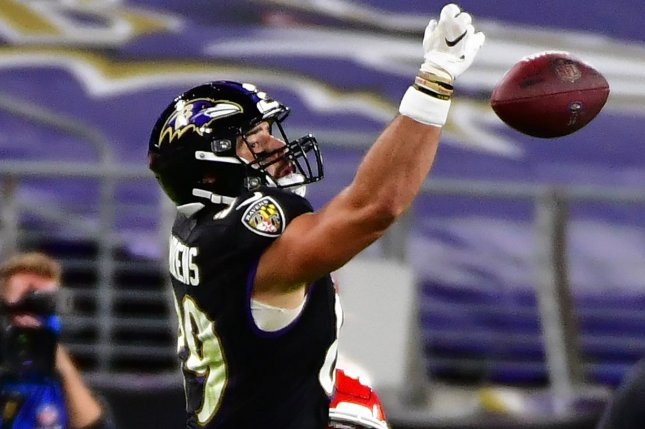 I expect Baltimore Ravens tight end Mark Andrews to score his third touchdown of the season in Week 4. File Photo by David Tulis/UPI