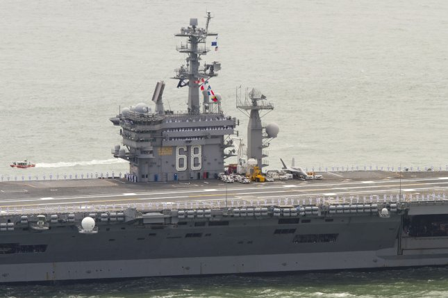 The USS Nimitz supercarrier has been ordered to remain in the Middle East amid threats that Iran may seek retribution for the U.S. drone strike one year ago that killed Iranian Gen. Qassem Soleimani. Photo by Mohammad Kheirkhah/UPI