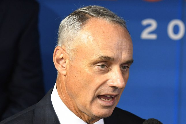 MLB commissioner Rob Manfred and the league said the 2021 season now is scheduled to start on time after the players union rejected a proposal for a delay, put in place as a safety precaution for COVID-19. File Photo by Gary I Rothstein/UPI