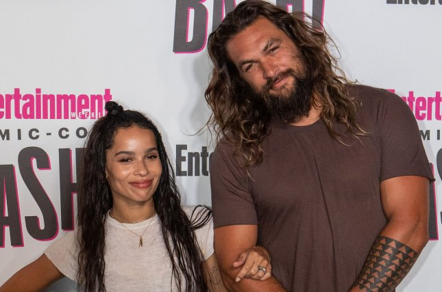 Zoe Kravitz (L) and her stepfather Jason Momoa attend Entertainment Weekly's Comic-Con closing night celebration in 2018. After going virtual in 2020 because of the coronavirus pandemic, San Diego Comic-Con will be in-person again this fall. File Photo by Howard Shen/UPI