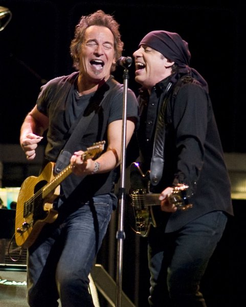 Bruce Springsteen (L) and Steven Van Zandt of the E Street Band perform Radio Nowhere from the Magic Album at the Key Arena in Seattle on March 29, 2008. The band is performing 55 tour dates that span North America and Europe. (UPI Photo/Jim Bryant)