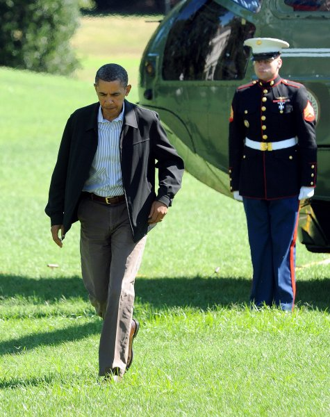 U.S. President Barack Obama returns to the White House after a flight on Marine One from Camp David in Washington Sept. 5, 2010. UPI/Roger L. Wollenberg