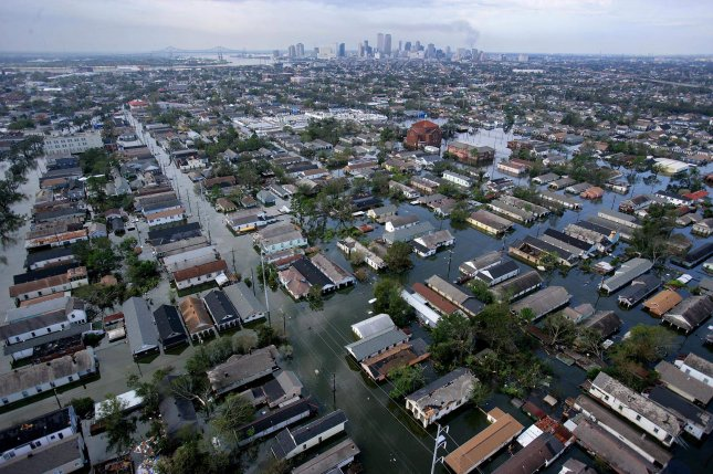 An aerial view of the devastation caused by high winds and heavy flooding in the greater New Orleans area Aug. 30, 2005, following Hurricane Katrina in New Orleans. File Photo by Vincent Laforet/Pool