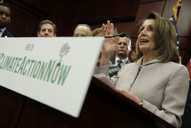 House Speaker Nancy Pelosi said the Climate Action Now Act would create jobs if passed. Photo by Yuri Gripas/UPI