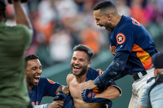 Houston Astros second baseman Jose Altuve (C) was 1-for-4 in a win against the New York Yankees on Monday in Houston. His only hit was a game-tying solo home run. Photo by Trask Smith/UPI