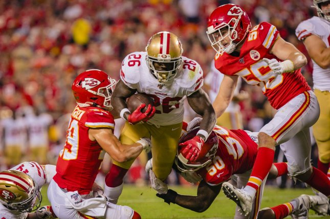 San Francisco 49ers running back Tevin Coleman (26) suffered a high left ankle sprain in Sunday's game against the Tampa Bay Buccaneers. File Photo by Kyle Rivas/UPI
