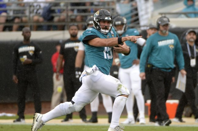 Jacksonville Jaguars quarterback Gardner Minshew (pictured) replaced Nick Foles in the second half against the Tampa Bay Buccaneers. File Photo by Joe Marino/UPI