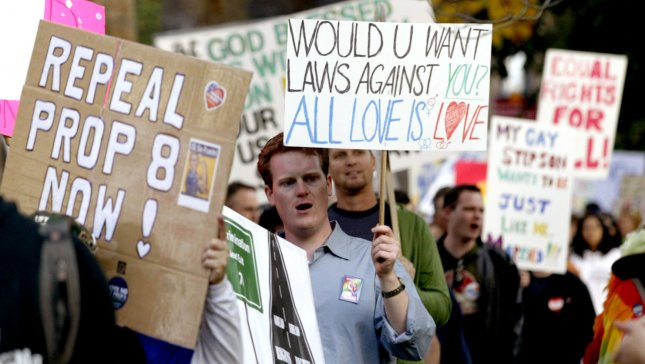 Protesters rally to overturn Proposition 8, at the State Capitol, in Sacramento, California, on November 22, 2008. Californians voted in Proposition 8, which amended the California Constitution to define marriage as between a man and a woman. (UPI Photo/Ken James)