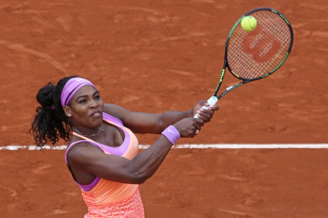 American Serena Williams hits a shot during her French Open women's second round match against Anna-Lena Friedsam of Germany at Roland Garros in Paris on May 28, 2015. Williams defeated Friedsam 5-7, 6-3, 6-3 to advance to the next round. Photo by David Silpa/UPI