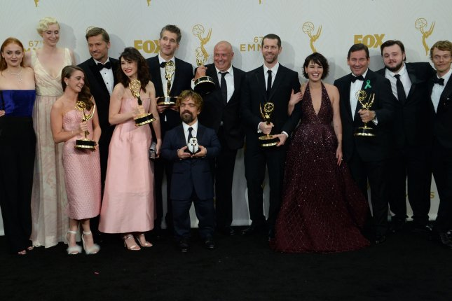 The cast and crew of Game of Thrones, winners of the award for Outstanding Drama Series, at the 67th Primetime Emmy Awards in Los Angeles on September 20, 2015. File Photo by Jim Ruymen/UPI