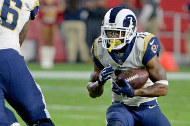 Los Angeles Rams receiver Tavon Austin (R) looks for running room in the fourth quarter against the Arizona Cardinals on December 3, 2017 at University of Phoenix Stadium in Glendale, Arizona. Photo by Art Foxall/UPI