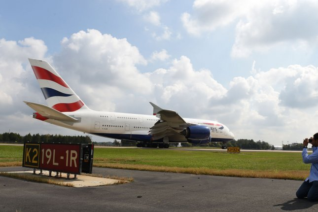A British Airways Airbus A380 taxis after landing at Washington Dulles International Airport in Dulles, Va. File Photo by Molly Riley/UPI