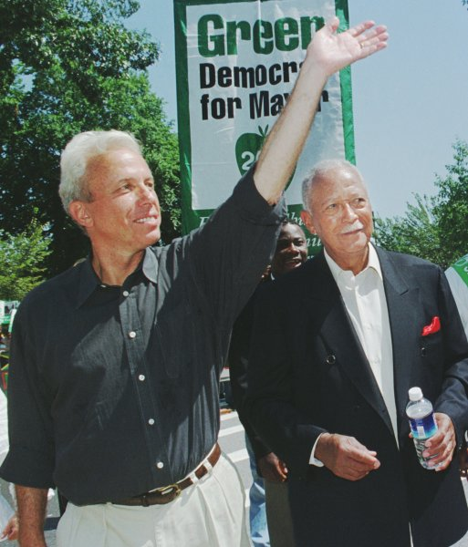 Former New York City Mayor David Dinkins (R) campaigns with mayoral candidate Mark Green in Brooklyn, New York City, on September 3, 2001. Green ultimately lost the general election to Republican Michael Bloomberg. File Photo by Monika Graff/UPI