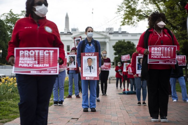 Researchers say that nurses -- specifically female nurses -- are at greater risk for death by suicide, a situation possibly made worse by the COVID-19 pandemic. File Photo by Kevin Dietsch/UPI