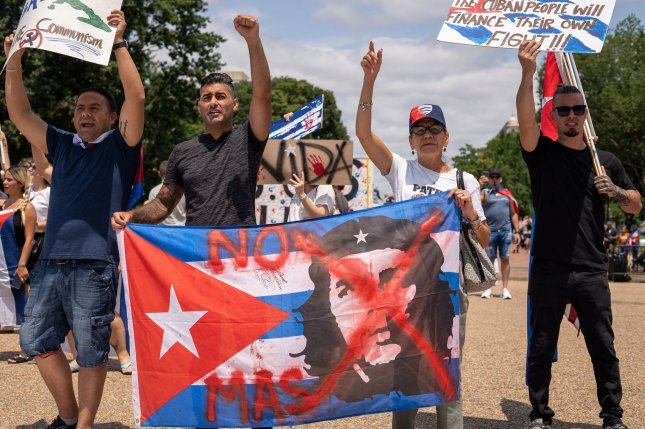 Cubans protest a lack of freedom and a worsening economy in their homeland in front of the White House in Washington, D.C., on July 18. Photo by Ken Cedeno/UPI