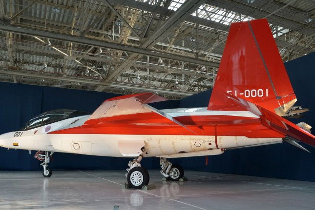 Japan's Defense Ministry began developing the X-2, a stealth fighter jet, about seven years ago. Photo by Keizo Mori/UPI