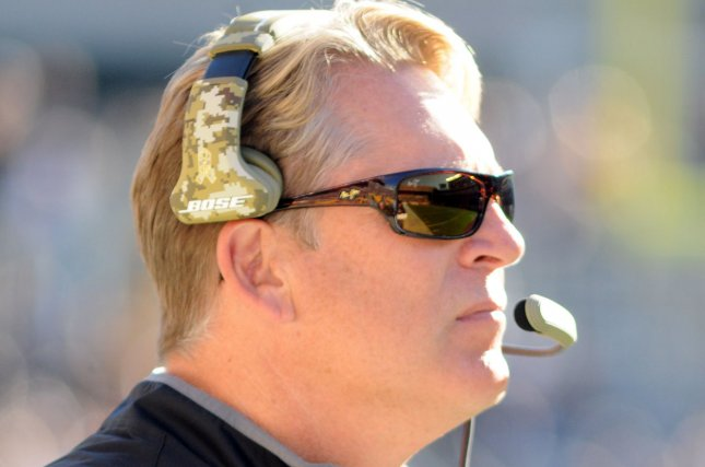 Oakland Raiders head coach Jack Del Rio walks the sidelines during the first quarter of the 38-35 Pittsburgh Steeler win at Heinz Field in Pittsburgh on November 8, 2015. Photo by Archie Carpenter/UPI