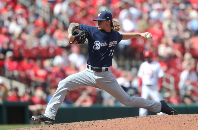 Josh Hader and the Milwaukee Brewers take on the Miami Marlins on Tuesday. Photo by Bill Greenblatt/UPI