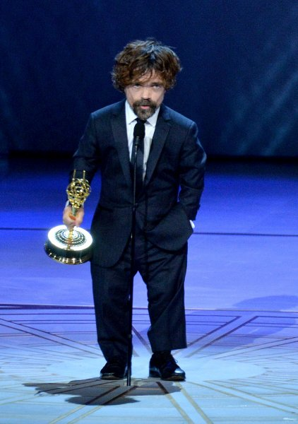 Peter Dinklage accepts the Outstanding Supporting Actor in a Drama Series award for Game of Thrones onstage during the 70th annual Primetime Emmy Awards in Los Angeles Monday. Photo by Jim Ruymen/UPI