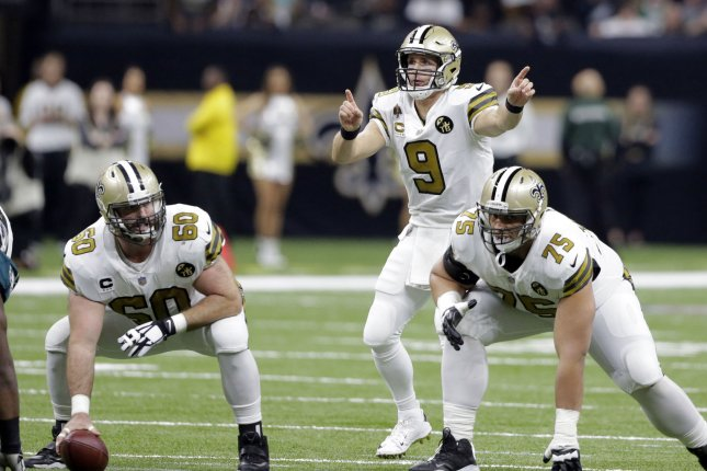 New Orleans Saints quarterback Drew Brees (9) gestures at the line before the snap against the Philadelphia Eagles on Sunday at the Mercedes-Benz Superdome in New Orleans. Photo by AJ Sisco/UPI