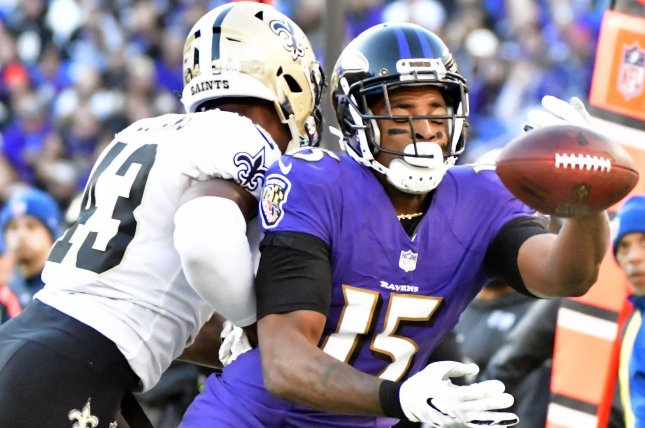 Baltimore Ravens wide receiver Michael Crabtree (R) played one season with the AFC North franchise before being released in February. File Photo by David Tulis/UPI