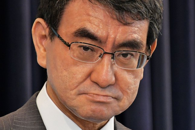 Japan's Foreign Minister Taro Kono warned the crew of a Izumo-class destroyer of North Korea's ballistic missiles on Saturday. File Photo by Keizo Mori/UPI