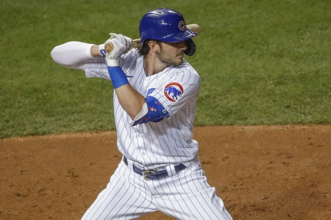 Chicago Cubs third baseman Kris Bryant has said he plans to remain with the team beyond 2021 and was recently surprised when he received an inaccurate message that he had been traded. File Photo by Kamil Krzaczynski/UPI