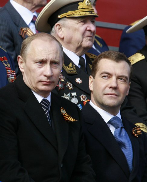 Russian Prime Minister Vladimir Putin (L) and President Dmitry Medvedev inspect a Victory Day parade in Red Square in Moscow on May 9, 2008. Warplanes screamed over Red Square and missile launchers rumbled past ranks of soldiers on Friday when Russia celebrated victory over Nazi Germany with a show of military might not seen since the collapse of the Soviet Union. (UPI Photo/Anatoli Zhdanov)