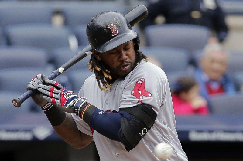 Boston Red Sox batter Hanley Ramirez. Photo by Ray Stubblebine/UPI