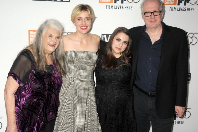 Lois Smith, Greta Gerwig, Beanie Feldstein and Tracy Letts arrive at the 55th New York Film Festival screening of Lady Bird on October 8. File Photo by Dennis Van Tine/UPI