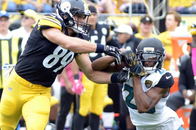 Jacksonville Jaguars cornerback Jalen Ramsey (R) infamously criticized a variety of quarterbacks around the NFL last season. File Photo by Archie Carpenter/UPI