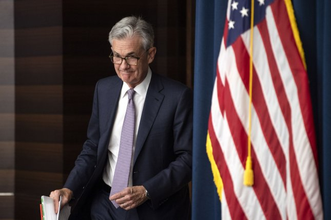 Federal Reserve Chairman Jerome Powell speaks to reporters following a policy decision to cut rates on September 18. File Photo by Kevin Dietsch/UPI