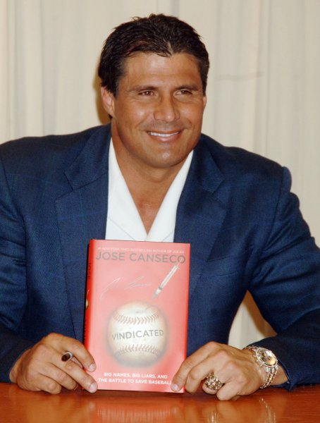 Former major league baseball player Jose Canseco promos his new book Vindicated at the Barnes and Nobel flag ship store in New York on April 2, 2008. (UPI Photo/Ezio Petersen)
