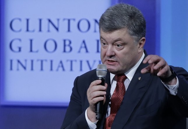 President of Ukraine Petro Poroshenko speaks last year at the Clinton Global Initiative in New York. Poroshenko signed onto the Minsk II agreement, but has not had sufficient control of his parliament to pass the necessary legislation. File Photo by John Angelillo/UPI