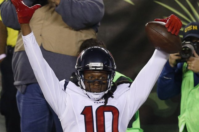 Houston Texans wide receiver DeAndre Hopkins (10). File photo by John Sommers II/UPI