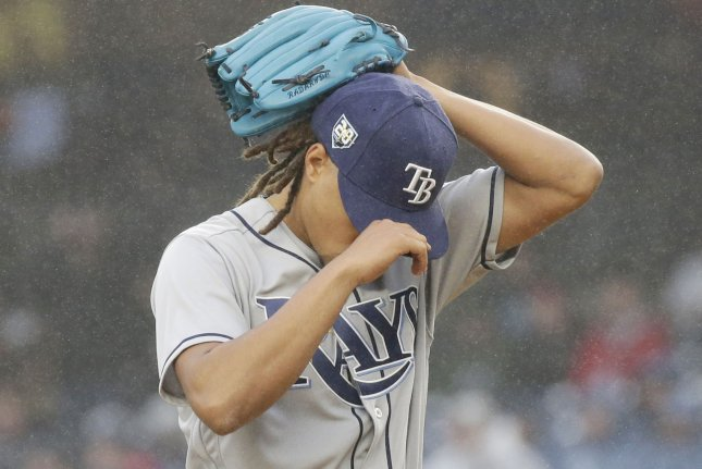 Tampa Bay Rays starting pitcher Chris Archer adjusts his cap in the first inning against New York Yankees in the Yankees home opener on April 3 at Yankee Stadium in New York City. Photo by John Angelillo/UPI