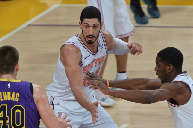 Former New York Knicks center Enes Kanter (C) agreed to a deal with the Portland Trail Blazers on Wednesday. File Photo by Jim Ruymen/UPI