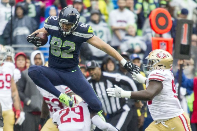 Former Seattle Seahawks tight end Luke Willson (82) signed with the Oakland Raiders on Friday. The tight end spent last season with the Detroit Lions. File Photo by Jim Bryant/UPI