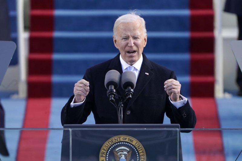 President Joe Biden speaks during the 59th Presidential Inauguration at the U.S. Capitol in Washington, DC on Wednesday, Jan. 20, 2021. Pool photo by Patrick SemanskyUPI