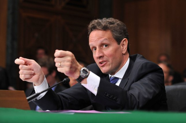 Treasury Secretary Timothy Geithner testifies on the Trouble Asset Relief Program before the Senate Banking, Housing and Urban Affairs Committee in Washington on May 20, 2009. (UPI Photo/Kevin Dietsch)