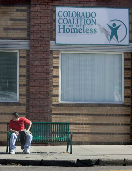 An unemployed man waits on a street bench after visiting the Colorado Coalition facility in Denver on November 6, 2009. Unemployment rates hit 10.2 percent, the first time it has surpassed 10 percent since 1983. UPI/Gary C. Caskey