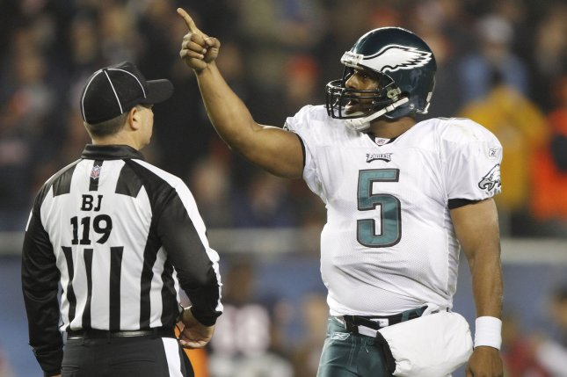 Philadelphia Eagles quarterback Donovan McNabb (5) argues a call with Back Judge Greg Wilson in 2009. UPI/Brian Kersey