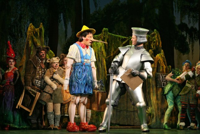 Researchers are working to give robots a moral compass by teaching them fables and fairy tales like Pinocchio. File photo by UPI Photo/Joan Marcus/DreamWorks Theatricals